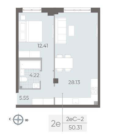 1-комнатная квартира №17А в: Neva Residence: 50.31 м²; этаж: 3 - купить в Санкт-Петербурге