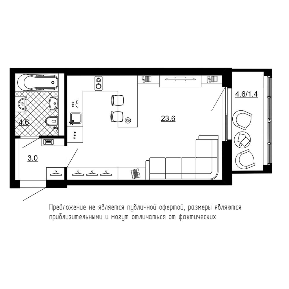 1-комнатная квартира №70 в: ЖК Эталон на Неве: 32.6 м²; этаж: 6 - купить в Санкт-Петербурге