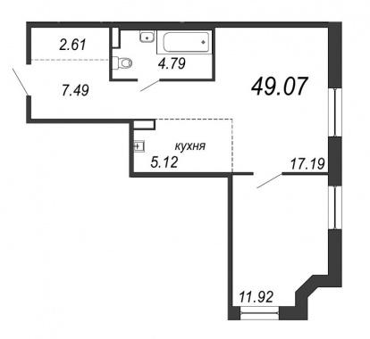1-комнатная квартира, 49.07 м²; этаж: 12 - купить в Санкт-Петербурге