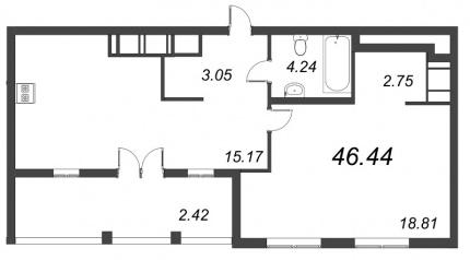 1-комнатная квартира №72 в: ID Moskovskiy: 46.44 м²; этаж: 9 - купить в Санкт-Петербурге