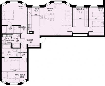 3-комнатная квартира, 138.82 м²; этаж: 6 - купить в Санкт-Петербурге