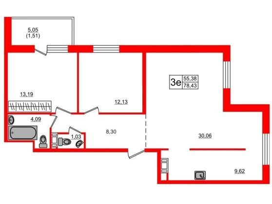 3-комнатная квартира, 77.9 м²; этаж: 8 - купить в Санкт-Петербурге