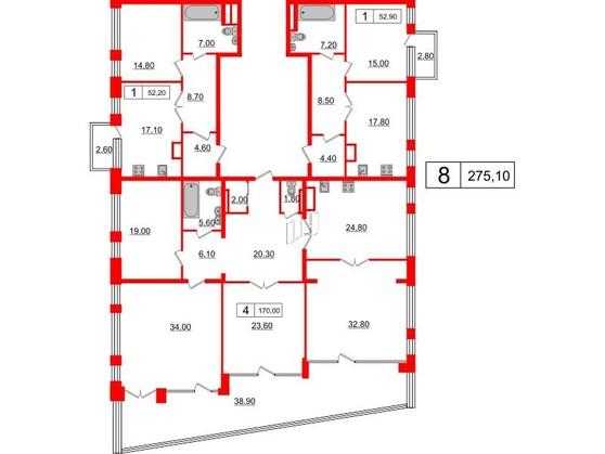 8-комнатная квартира, 275.1 м²; этаж: 5 - купить в Санкт-Петербурге