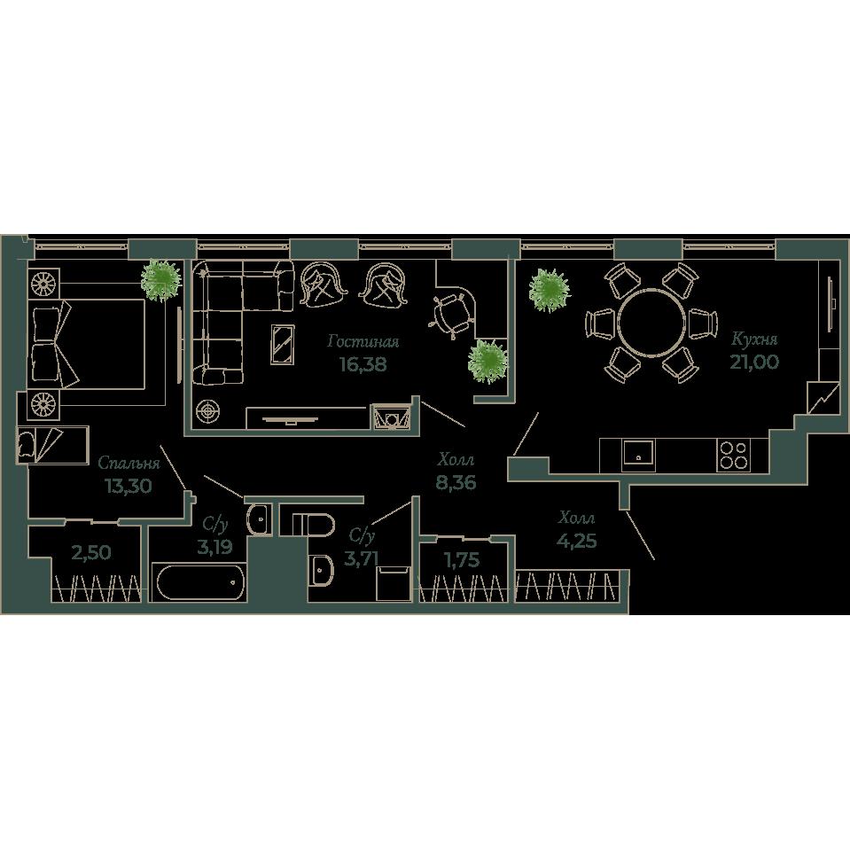 2-комнатная квартира, 75.6 м²; этаж: 6 - купить в Санкт-Петербурге