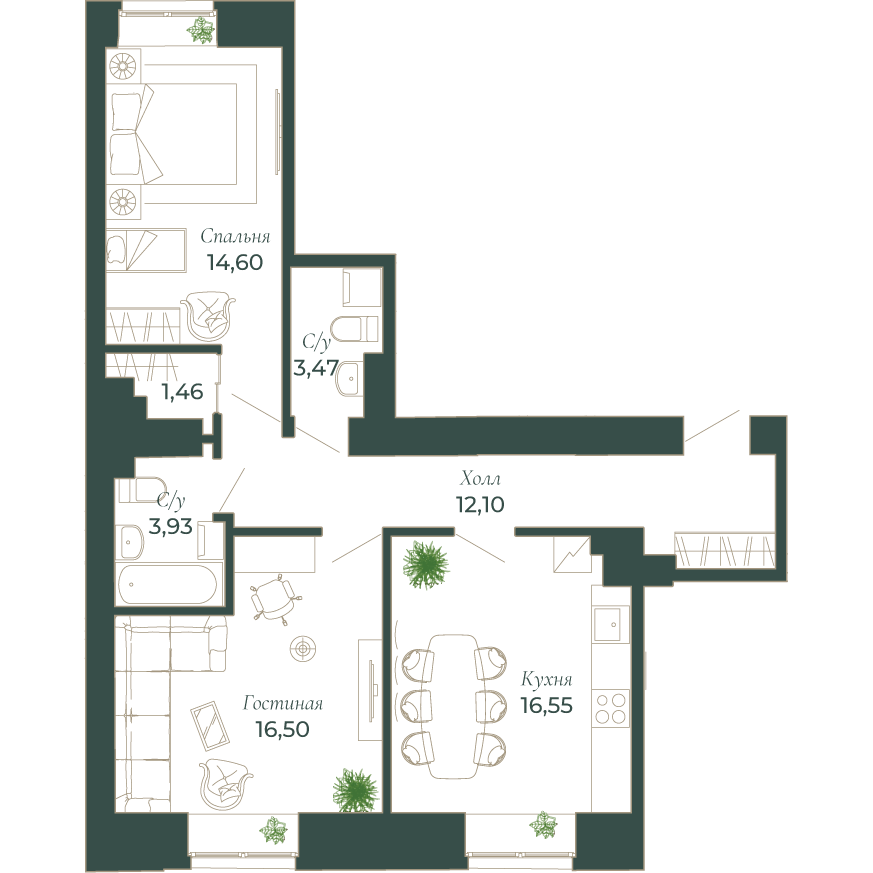 2-комнатная квартира, 68.7 м²; этаж: 3 - купить в Санкт-Петербурге