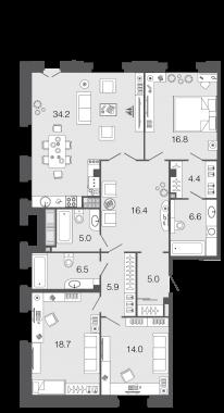 3-комнатная квартира, 133.5 м²; этаж: 6 - купить в Санкт-Петербурге