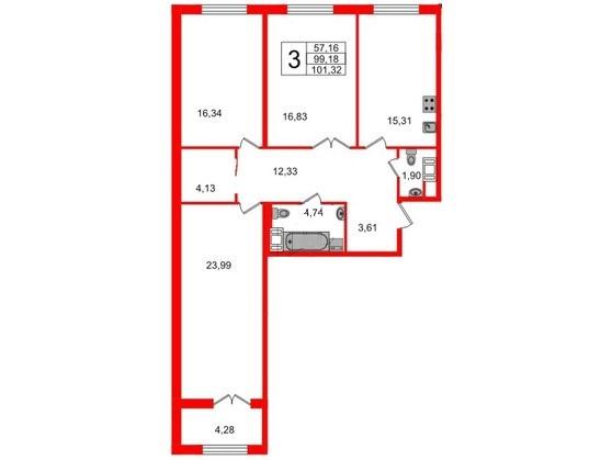 3-комнатная квартира, 98.6 м²; этаж: 2 - купить в Санкт-Петербурге