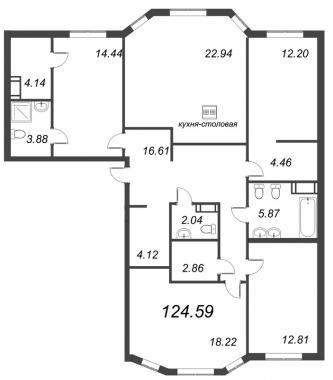 4-комнатная квартира, 124.59 м²; этаж: 4 - купить в Санкт-Петербурге
