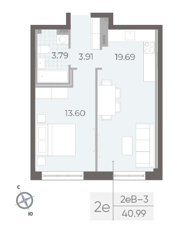 1-комнатная квартира №17А в: Neva Residence: 40.99 м²; этаж: 3 - купить в Санкт-Петербурге