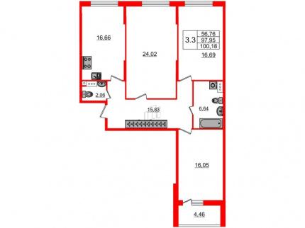 3-комнатная квартира, 97.95 м²; этаж: 9 - купить в Санкт-Петербурге
