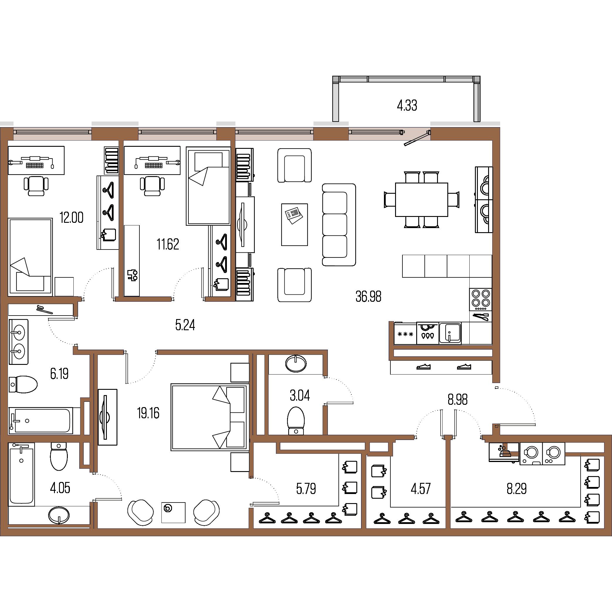 3-комнатная квартира, 126.42 м²; этаж: 8 - купить в Санкт-Петербурге