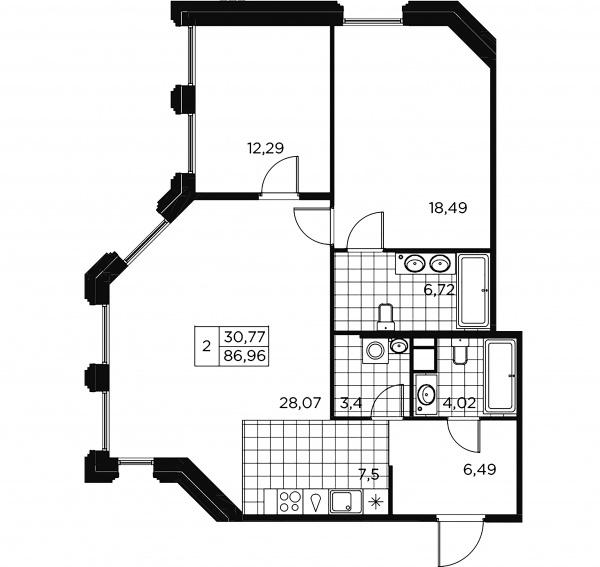 2-комнатная квартира, 86.96 м²; этаж: 8 - купить в Санкт-Петербурге