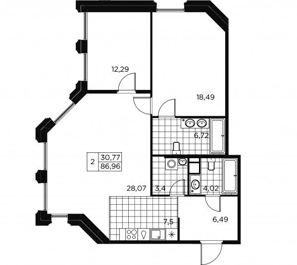 2-комнатная квартира, 86.96 м²; этаж: 6 - купить в Санкт-Петербурге
