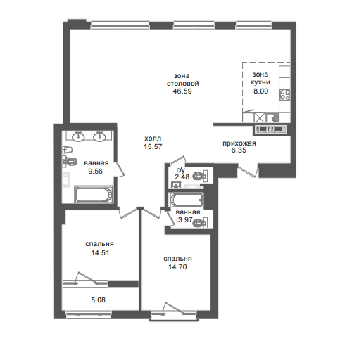 2-комнатная квартира №32А в: Приоритет: 125.46 м²; этаж: 5 - купить в Санкт-Петербурге