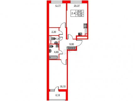2-комнатная квартира №66 в: Притяжение: 67.99 м²; этаж: 8 - купить в Санкт-Петербурге
