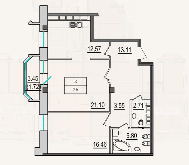 2-комнатная квартира №9 в: 4-я Советская, 9: 76 м²; этаж: 7 - купить в Санкт-Петербурге