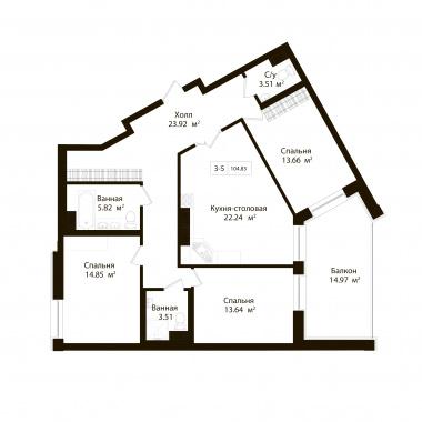 3-комнатная квартира, 100.34 м²; этаж: 3 - купить в Санкт-Петербурге