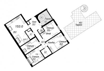 4-комнатная квартира №27 в: Meltzer Hall: 153 м²; этаж: 8 - купить в Санкт-Петербурге