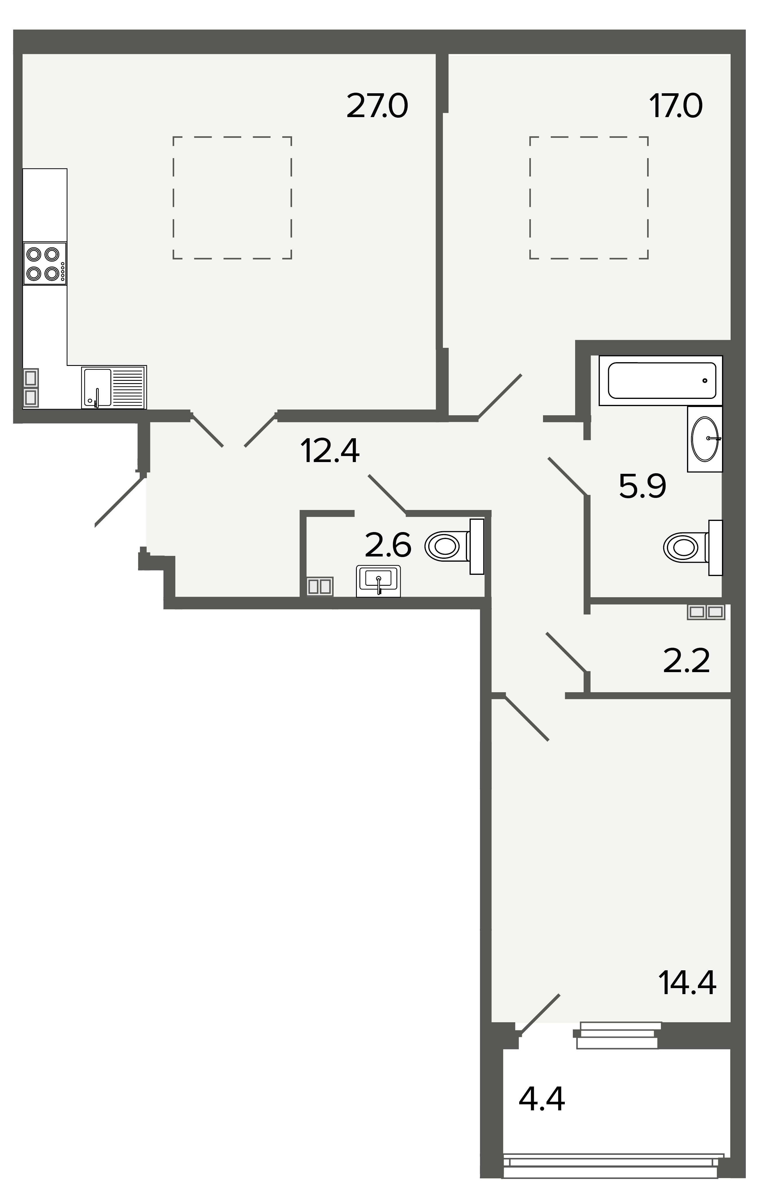2-комнатная квартира, 81.5 м²; этаж: 4 - купить в Санкт-Петербурге