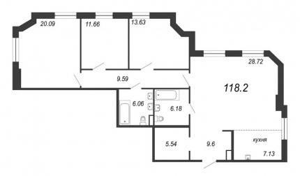3-комнатная квартира, 118.2 м²; этаж: 6 - купить в Санкт-Петербурге