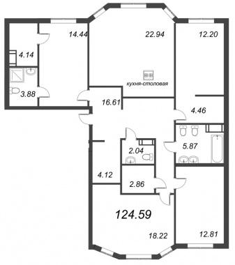 4-комнатная квартира, 124.59 м²; этаж: 6 - купить в Санкт-Петербурге