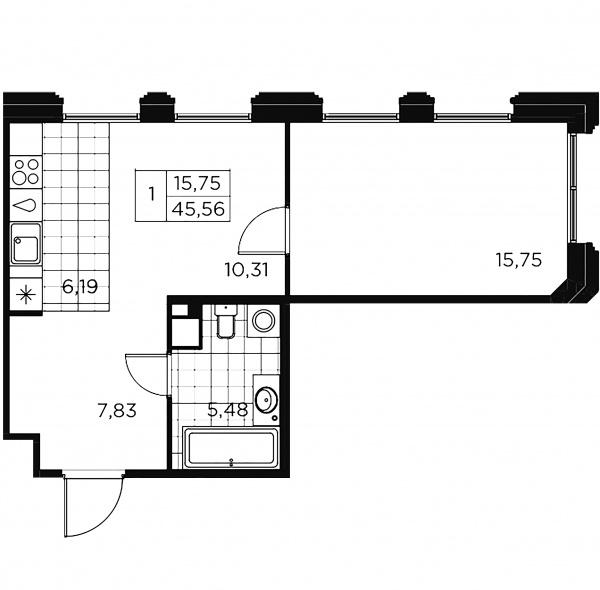 1-комнатная квартира, 45.56 м²; этаж: 6 - купить в Санкт-Петербурге