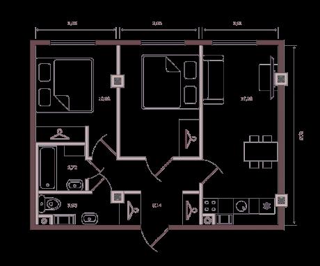 2-комнатная квартира №63/14А в: Monodom на Малом: 53.4 м²; этаж: 7 - купить в Санкт-Петербурге