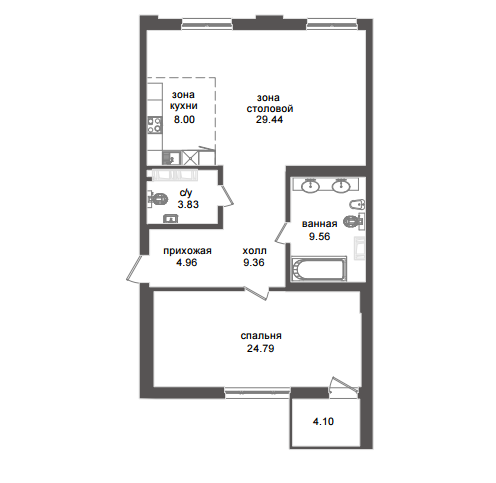 1-комнатная квартира №32А в: Приоритет: 92.02 м²; этаж: 6 - купить в Санкт-Петербурге