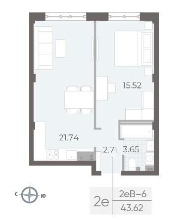 1-комнатная квартира №17А в: Neva Residence: 43.62 м²; этаж: 3 - купить в Санкт-Петербурге