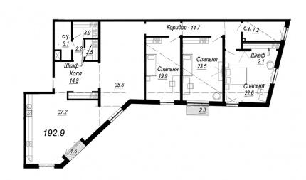 4-комнатная квартира, 192.9 м²; этаж: 6 - купить в Санкт-Петербурге