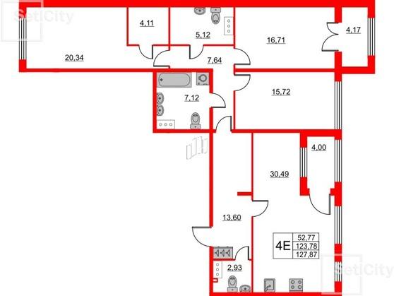 3-комнатная квартира, 123.78 м²; этаж: 2 - купить в Санкт-Петербурге