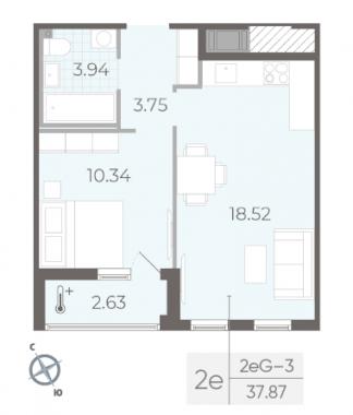 1-комнатная квартира, 37.87 м²; этаж: 12 - купить в Санкт-Петербурге