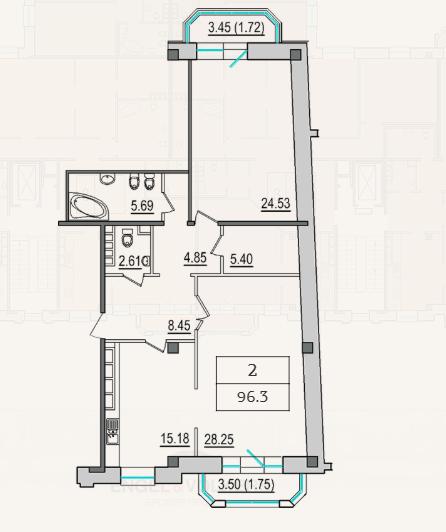 2-комнатная квартира №9 в: 4-я Советская, 9: 94.3 м²; этаж: 5 - купить в Санкт-Петербурге