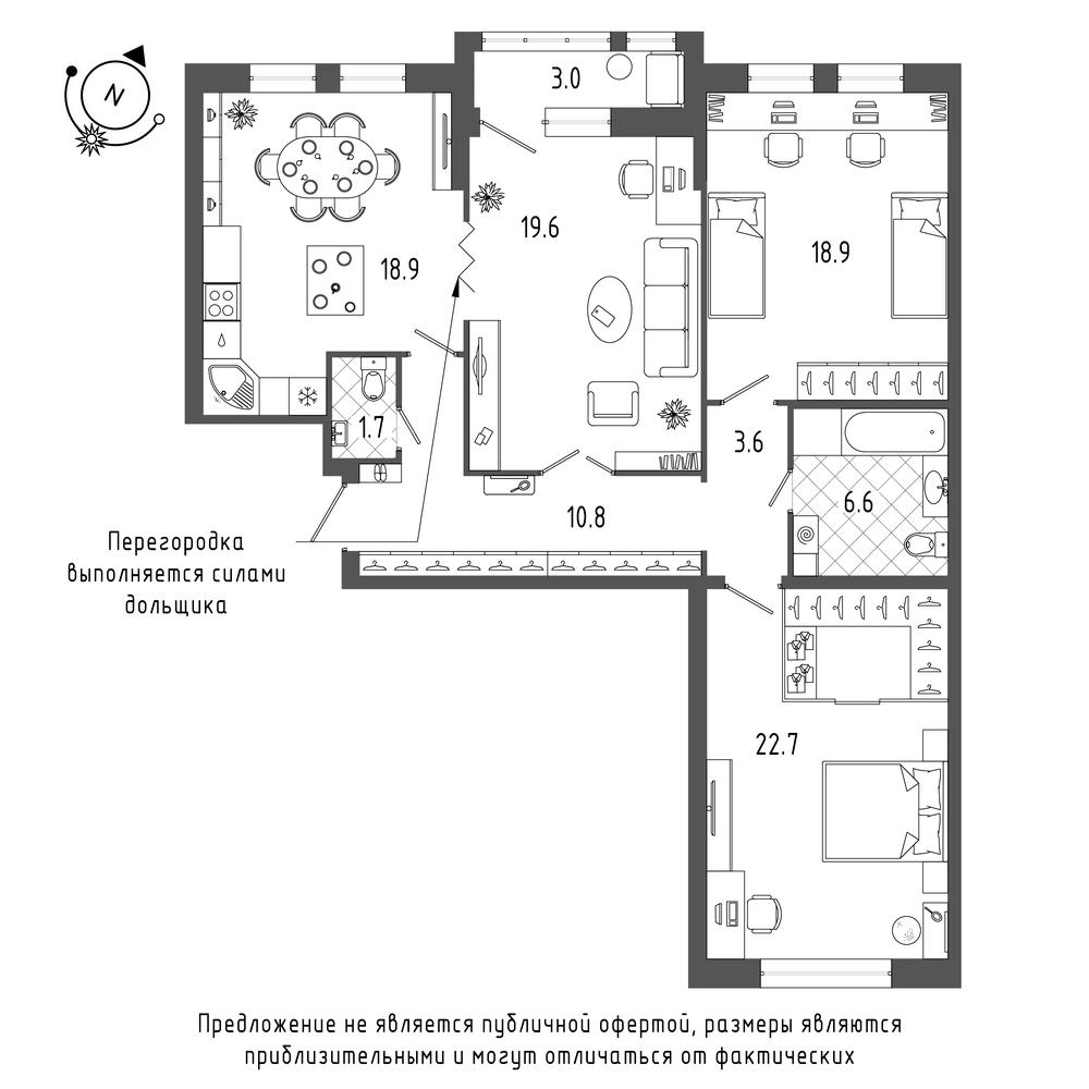 3-комнатная квартира №70 в: ЖК Эталон на Неве: 104.3 м²; этаж: 5 - купить в Санкт-Петербурге