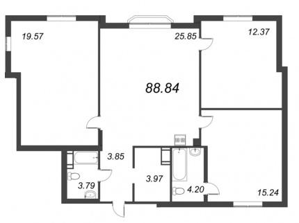 3-комнатная квартира, 88.84 м²; этаж: 9 - купить в Санкт-Петербурге