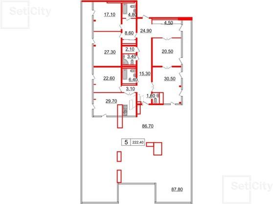 5-комнатная квартира, 222.4 м²; этаж: 7 - купить в Санкт-Петербурге