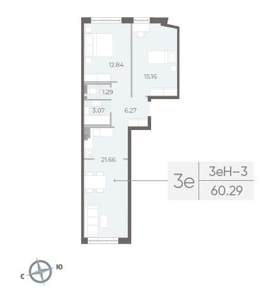 3-комнатная квартира №17А в: Neva Residence: 60.29 м²; этаж: 4 - купить в Санкт-Петербурге