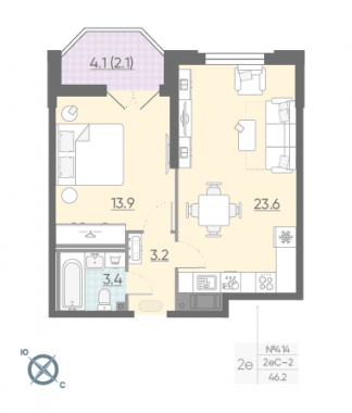 1-комнатная квартира №42 в: Цивилизация на Неве: 46.2 м²; этаж: 9 - купить в Санкт-Петербурге