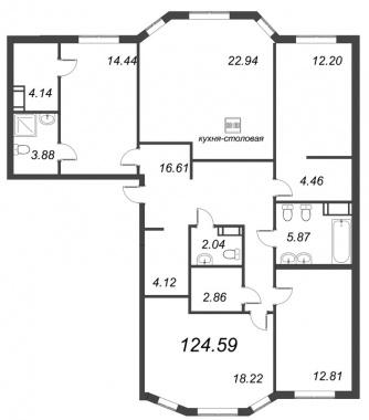 4-комнатная квартира, 124.59 м²; этаж: 5 - купить в Санкт-Петербурге