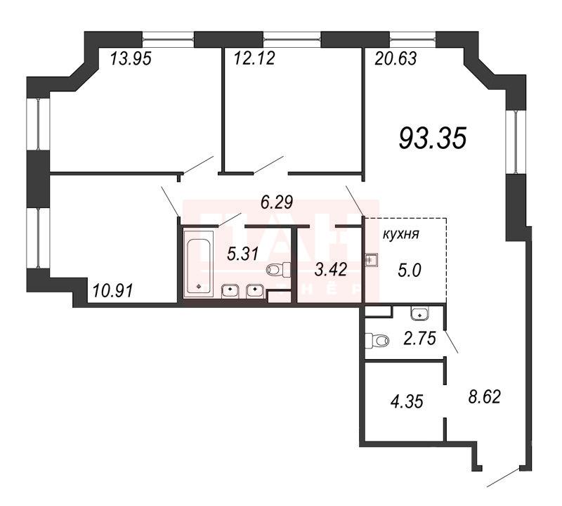 3-комнатная квартира, 93.35 м²; этаж: 8 - купить в Санкт-Петербурге