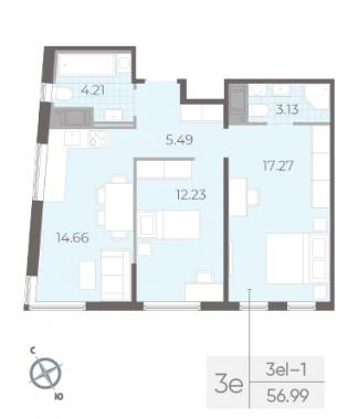 2-комнатная квартира, 56.99 м²; этаж: 14 - купить в Санкт-Петербурге