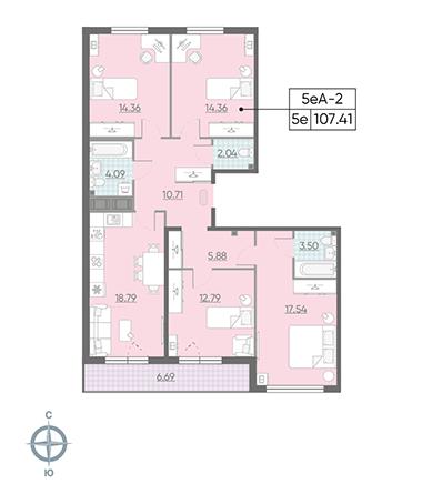 5-комнатная квартира, 107.41 м²; этаж: 14 - купить в Санкт-Петербурге