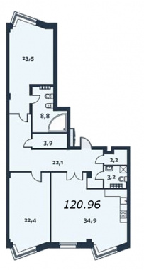 2-комнатная квартира, 121.5 м²; этаж: 4 - купить в Санкт-Петербурге