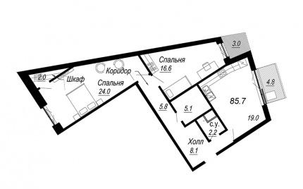 2-комнатная квартира №27 в: Meltzer Hall: 85.7 м²; этаж: 5 - купить в Санкт-Петербурге