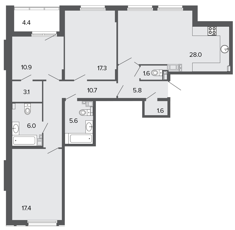 3-комнатная квартира №11 в: ЖК Болконский: 108 м²; этаж: 6 - купить в Санкт-Петербурге