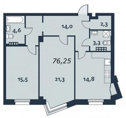 2-комнатная квартира, 76.8 м²; этаж: 4 - купить в Санкт-Петербурге