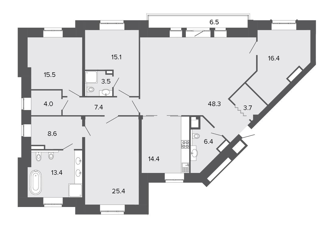 4-комнатная квартира, 182.1 м²; этаж: 2 - купить в Санкт-Петербурге