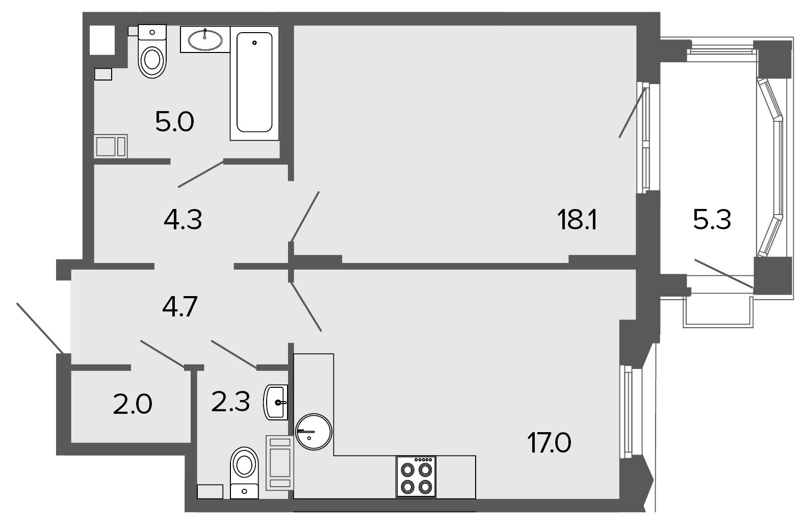 1-комнатная квартира №11 в: ЖК Болконский: 53.5 м²; этаж: 4 - купить в Санкт-Петербурге