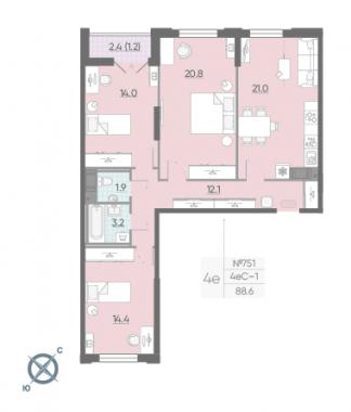 3-комнатная квартира №42 в: Цивилизация на Неве: 88.6 м²; этаж: 13 - купить в Санкт-Петербурге
