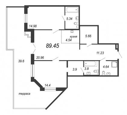 2-комнатная квартира, 101.33 м²; этаж: 2 - купить в Санкт-Петербурге